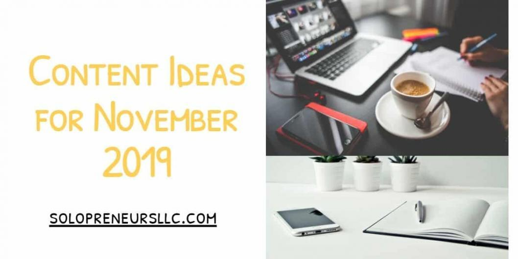 Content Ideas for November 2019